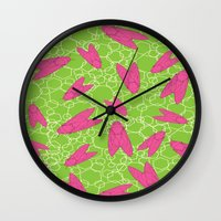 insects Wall Clocks featuring Vibrant insects  by Lauren Chinn