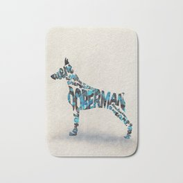 Doberman Pinscher Typography Art / Watercolor Painting Bath Mat
