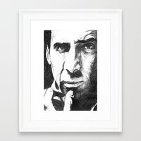 nicolas cage Framed Art Prints featuring Nicolas Cage by DeMoose_Art