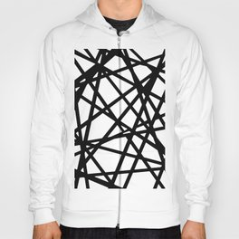 Black Lines And Irregular White Shapes Abstract Design Hoody