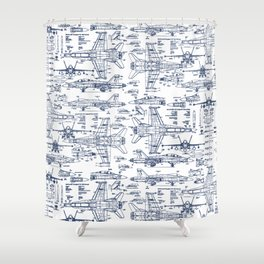 F-18 Blueprints // Blue Ink Shower Curtain