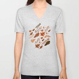 Autumn Leaves and Ladybugs Pattern Light Unisex V-Neck