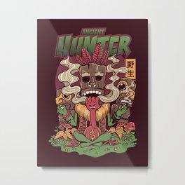 forest tiki the bounty hunter doing yoga while smoking with tiki totems Metal Print