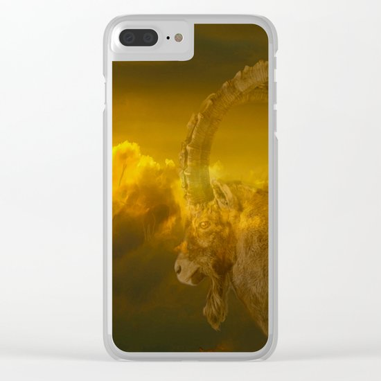 Alpine - Ibex with cloudy sunset background - #Society6 #buyart Clear iPhone Case