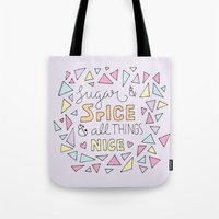 spice girls Tote Bags featuring Sugar and Spice by Little Holly Berry