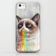 Cat Tastes the Grumpy Rainbow | Watercolor Painting Slim Case iPhone 5c