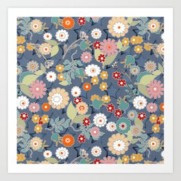 Colorful flowers on a denim background. Art Print