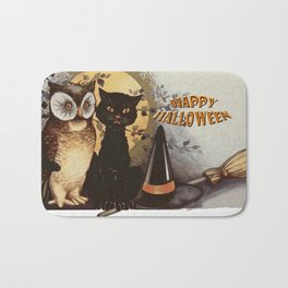 Owl and Cat Halloween Bath Mat