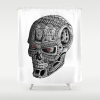 terminator Shower Curtains featuring Ornate Terminator by Adrian Dominguez