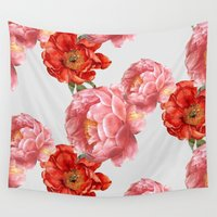 vintage floral Wall Tapestries featuring vintage floral by cardboardcities