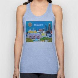 Kansas City, Missouri - Skyline Illustration by Loose Petals Unisex Tank Top