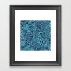 Tossed Blue mandalas Framed Art Print