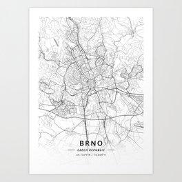 Brno, Czech Republic - Light Map Art Print