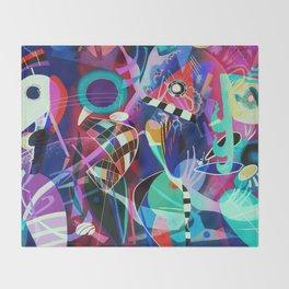 Night life, Wassily Kandinsky inspired geometric abstract art Throw Blanket