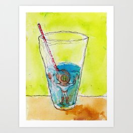 Lil Diver in a Half-Full, Half-Empty Situation Art Print
