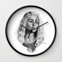 daenerys Wall Clocks featuring Daenerys Targaryen by Mutemouia