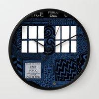 tardis Wall Clocks featuring Tardis by Rebecca Bear
