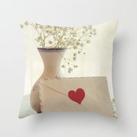 letter Throw Pillows featuring Love Letter by Colleen Farrell