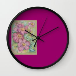 Clematis Floral Pastel Drawing Spring Flowers Painting Wall Clock