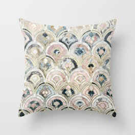 Art Deco Marble Tiles in Soft Pastels Throw Pillow