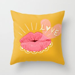 Kissing Lips & Love Bubbles Throw Pillow