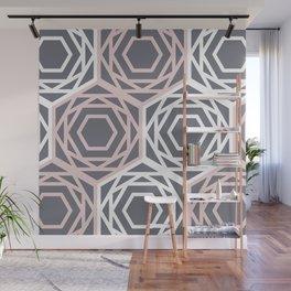 Hex Geo 05 - Geometric Triangle Hexagons Pastel Grey Wall Mural