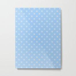 White on Baby Blue Snowflakes Metal Print