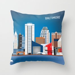 Baltimore, Maryland - Skyline Illustration by Loose Petals Throw Pillow