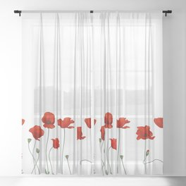Poppy Stems Sheer Curtain