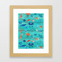 Blue & Orange Under the Sea Framed Art Print