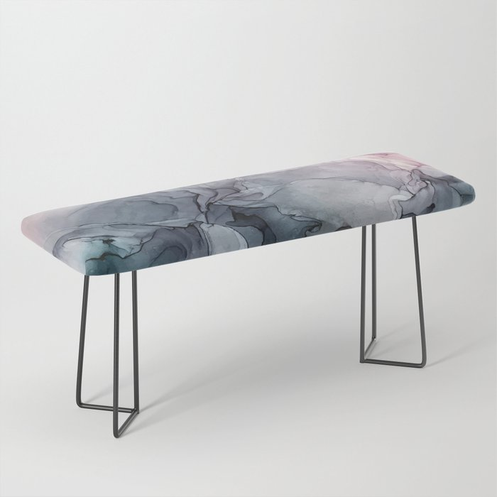 Blush and Payne's Grey Flowing Abstract Painting Bench