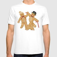 Gingerbread Family Winter Fun Mens Fitted Tee White MEDIUM