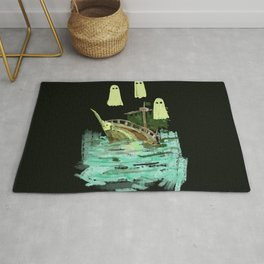 ghost pirate boat Rug