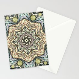 Light green flowers mandala Stationery Cards