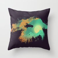horror Throw Pillows featuring Leap of Faith by Picomodi