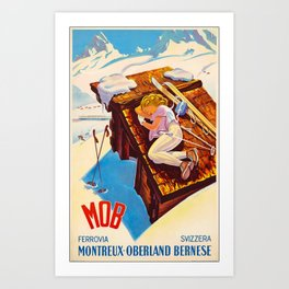 Ferrovia Montreaux-Oberland Bernes Travel Poster Art Print