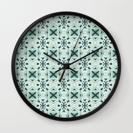 Classic green ivory black Italian motif pattern Wall Clock