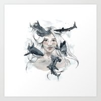 sharks Art Prints featuring Sharks by Clunaillustration