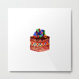 Tasty choco cake in watercolor Metal Print