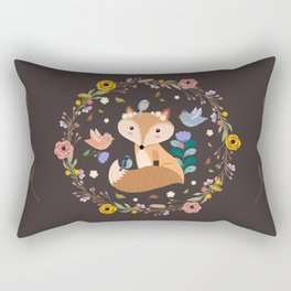 Little Princess Fox With Friends And Foliage Rectangular Pillow