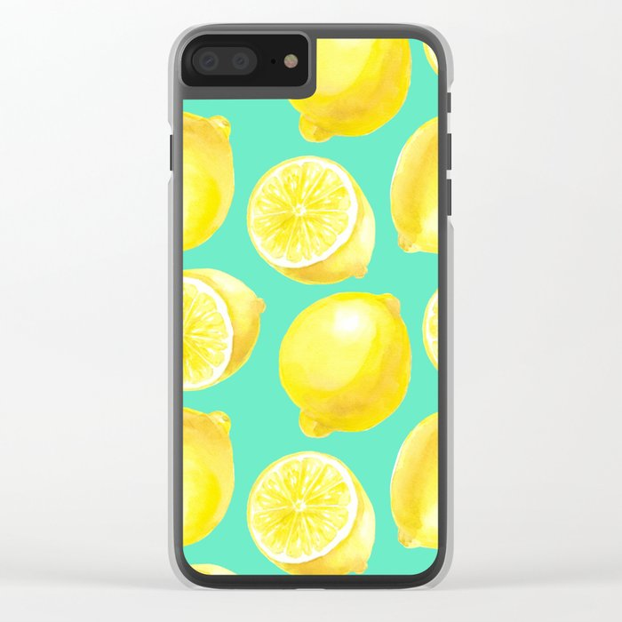 Watercolor lemons pattern Clear iPhone Case