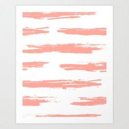 Pretty Pink Brush Stripes Horizontal Art Print