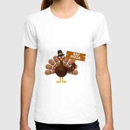 Turkey Eat Pizza Funny Thanksgiving T-shirt