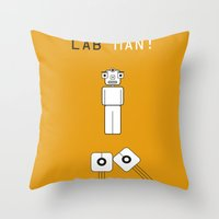 lab Throw Pillows featuring Lab Man by Artricca