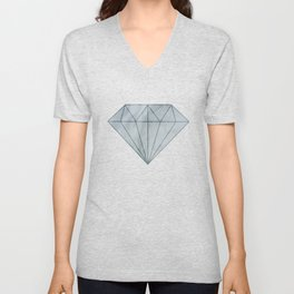 Elegant Blue Grey Marble Unisex V-Neck
