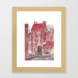 English castle watercolor illustration Framed Art Print