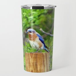 Bluebird on a Fence Post Travel Mug