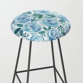 Pale blue roses . Watercolor . Bar Stool