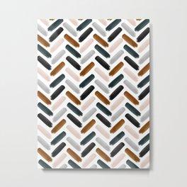 Painted herringbone - neutrals Metal Print