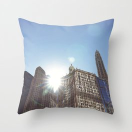 The Sun Piercing the Chicago City Skyline Throw Pillow